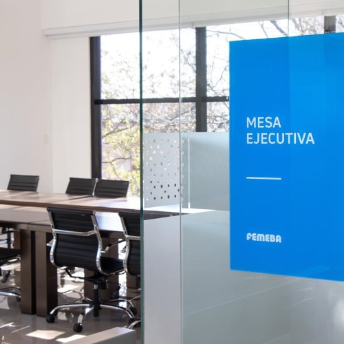 Signage by 1250 Studio seen at FEMEBA Medical Federation of the Province of Buenos Aires, La Plata - Signage