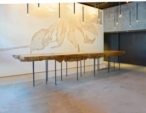 Tables by Evan Shively and Arborica seen at In Situ, San Francisco - Custom Lounge Table & Suite of Wood Materials for Tables and Ceiling