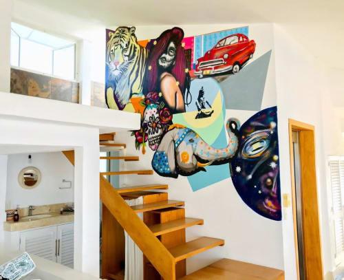 Murals by Emmanuel Montero seen at Puerto Vallarta, Puerto Vallarta - Mural Art