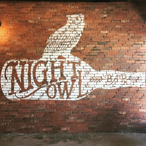 "Murals by Avery Orendorf at Night Owl, Austin - ""Nigh Owl"" Sign Painting"
