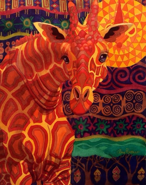 Paintings by Amy Rattner Art seen at Private Residence, Sausalito - Giraffe Dreams