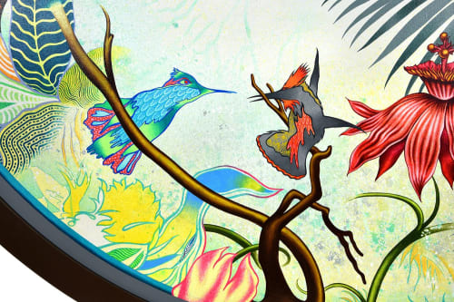 """Paintings by Peter D. Gerakaris Studio seen at Private Residence, Culver City - """"Jungle Oculus Tondo"""" - Private Painting Commission"""