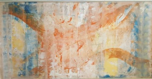 "Paintings by Twyla Gettert seen at Auberge Beach Residences, Fort Lauderdale - Original Painting, ""Finish Line""  and Monotype ""Balance"""