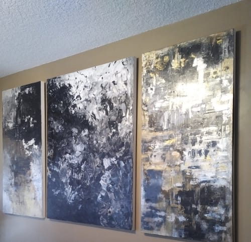 "Paintings by Barbara Lin Elliott Fine Art and Design seen at Private Residence, Cambridge - Tryptch ""In Neutral"""