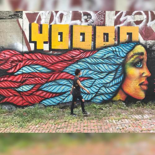 Murals by Isabelle Ewing seen at Lincoln Street Art Park, Detroit - Detroit Wonder Woman