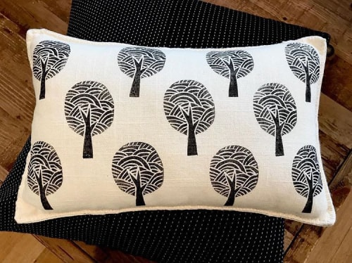 Pillows by KRUPA PARANJAPE seen at Private Residence, Mountain View - Trees Pillow block printed