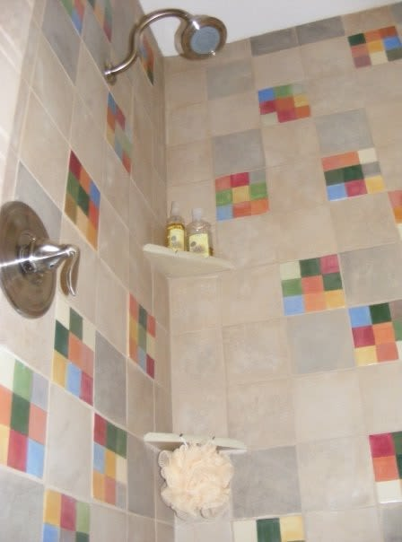Tiles by Rachel Kaiser seen at Private Residence, Great Falls - Master Bath Shower