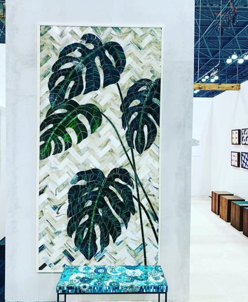 Wall Hangings by Mixed Up Mosaic seen at Jacob K. Javits Convention Center, NYC, New York - Monstera Mosaic Panel