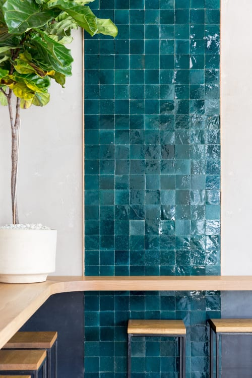 "Tiles by clé tile seen at Elda, San Francisco - fired opal - zellige 4""x4"""
