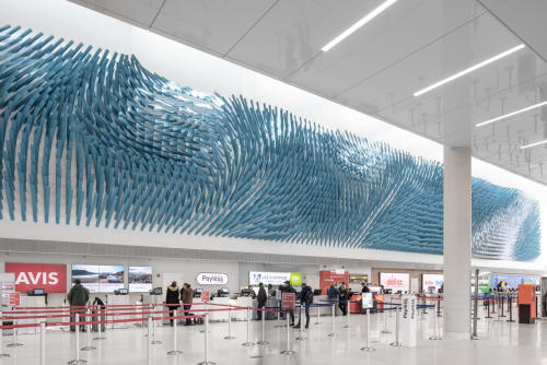 Public Sculptures by Rob Ley Studio seen at O'Hare, Chicago - Field Lines