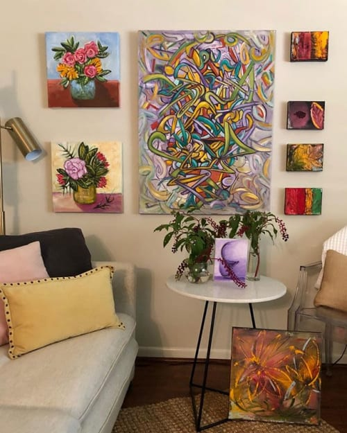 Paintings by Debbie Daise Art    @Debbiedaiseart seen at Rutherford's Design-Fabrics-Gifts, Dallas - Her Thoughts Consumed Her