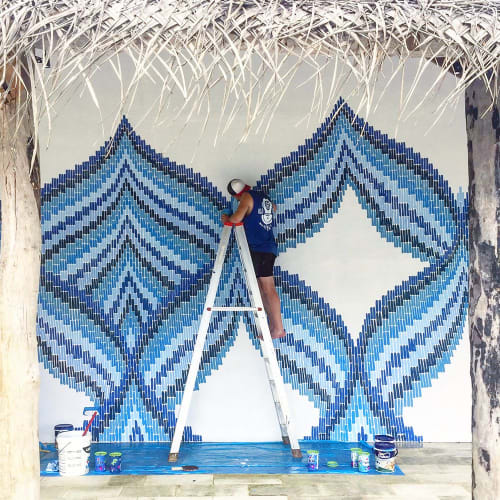 Murals by LUCAS GROGAN seen at Private Residence, Weligama - EMBROIDERED WAVES