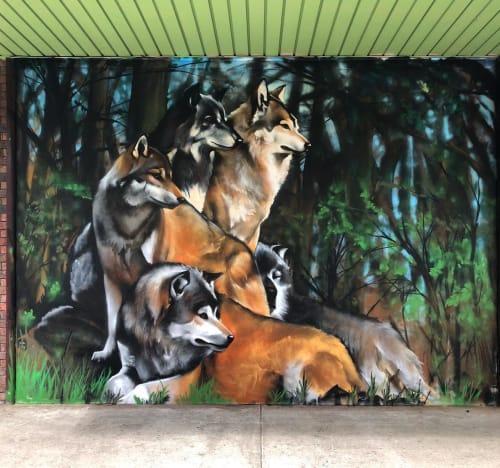 Murals by Heesco seen at Dandenong Market, Dandenong - Wolves Mural