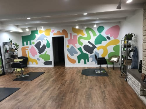 Murals by Holey Kids seen at Goldie Salon Studios, Oklahoma City - Goldie Salon mural