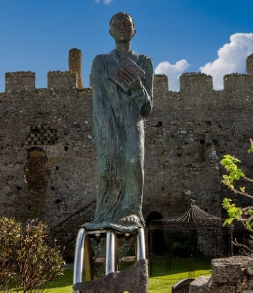 Public Sculptures by Ann Meldon Hugh seen at Manorbier Castle, Manorbier - Gerald of Wales