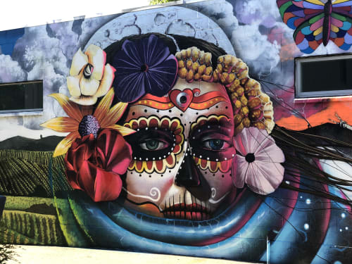 "Street Murals by Chor Boogie seen at Republic of Thrift, Sonoma - ""Vida de la Muerte"" 2017"