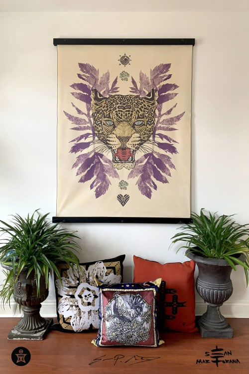 Wall Hangings by Sean Martorana • Art & Design for Interiors / Wall Hanging Treatment / Wallpaper / Textile Floral Prints / Pillows seen at Creator's Studio, Philadelphia - Jaguar w/ Marigold Leaves • Large Fabric Textile Wall Decor