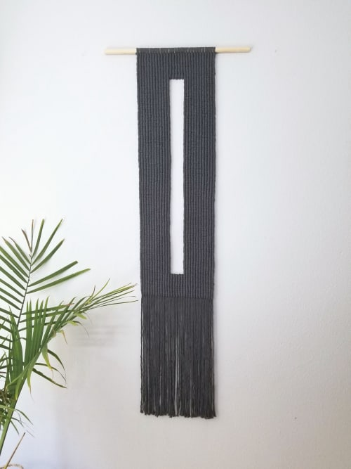 Macrame Wall Hanging by YASHI DESIGNS seen at Private Residence, Peoria - Key- Hole Macrame Wall Hanging in Charcoal