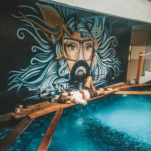 Murals by George Francis seen at Compass Divers - DIVER MURAL