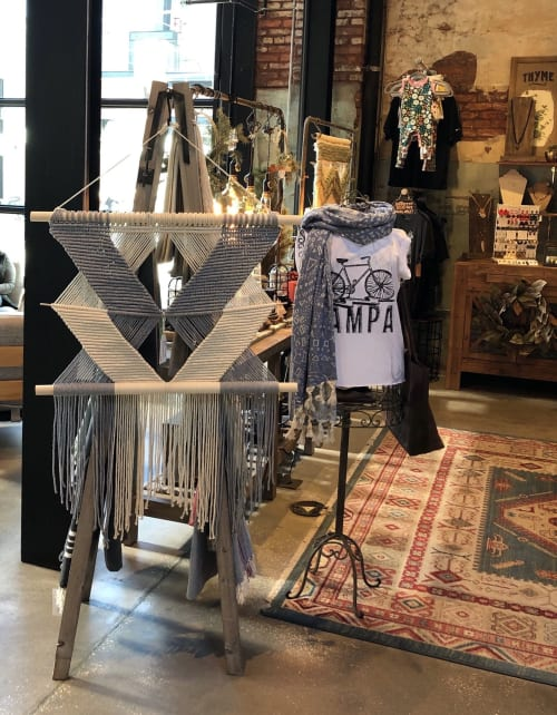 Macrame Wall Hanging by Oak & Vine seen at A.W. Mercantile, Tampa - Grey and white overlapping wall hanging