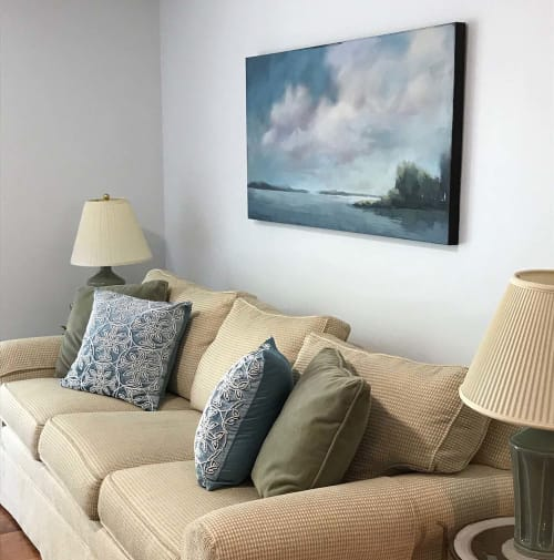 Paintings by Carrie Megan seen at Private Residence, Needham - Blue Harbor View Painting