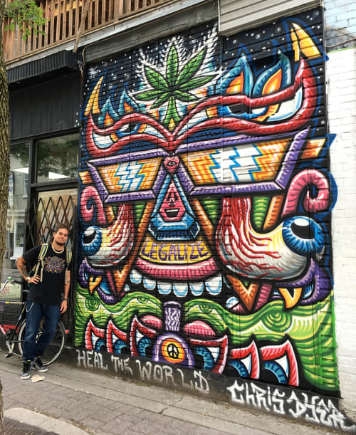 Street Murals by Chris Dyer at Utopia, Montréal - Utopia Healer