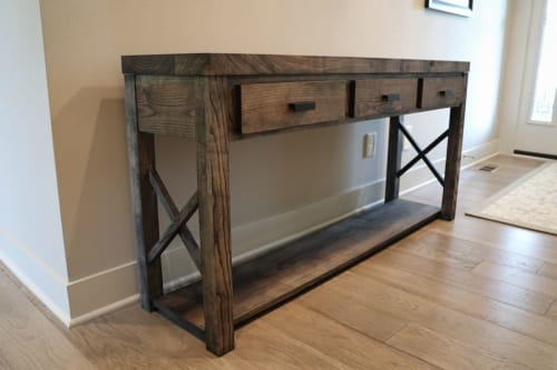 Tables by Hazel Oak Farms seen at Private Residence, Ankeny - Stained Farmhouse Modern Style Ash Console Entry Table