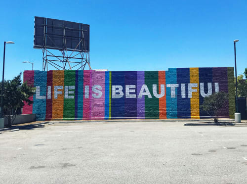 Street Murals by Ruben Rojas at 4617 W Washington Blvd, Los Angeles - Life Is Beautiful