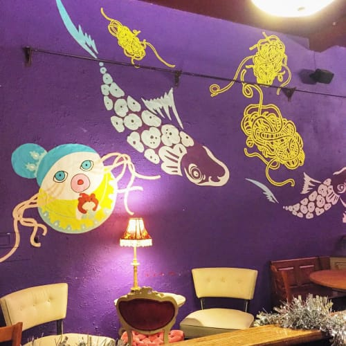 Murals by Harumo Sato seen at Spot Coffee, Buffalo - Interior Mural