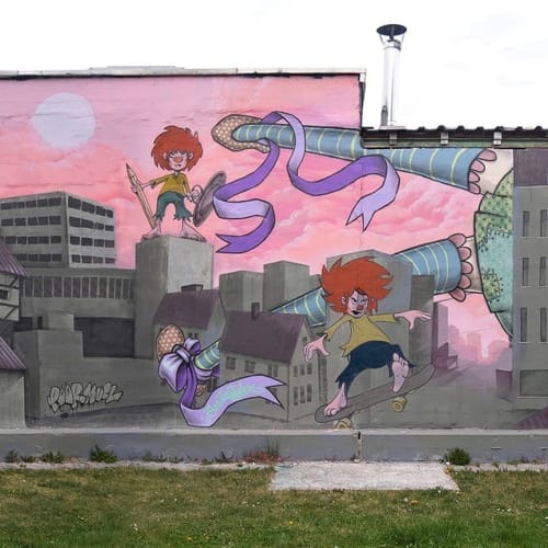 Street Murals by Lion Fleischmann seen at Hansastraße, München - Poormuckl