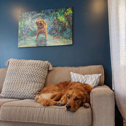 Paintings by Iris Scott seen at Private Residence - Shaking Off Dog