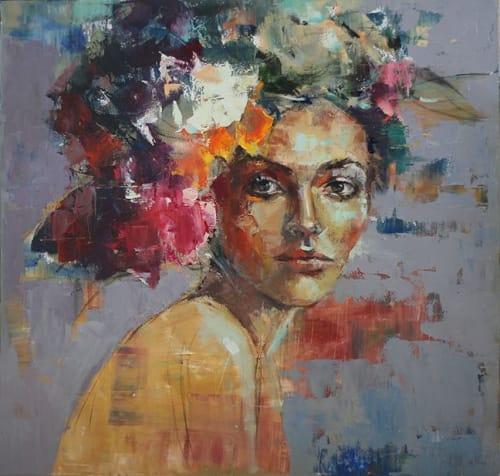 Paintings by Julia Klimova seen at Hotel Bella Grace, Charleston - Blooming Mind painting