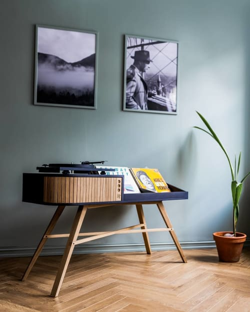 Tables by HRDL seen at Private Residence, Oslo - Vinyl Table in Black Valchromat and Oak