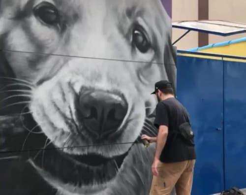 Street Murals by snek arte seen at Buddies Daycare & Hotel, Moema - Dog Mural