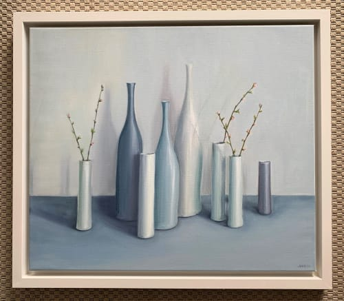 Paintings by Jonquilsart - bottles and cylinders with cherry blossom twigs