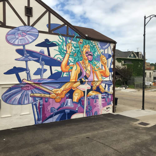 Murals by Christian Dallas Art seen at Hamilton, Hamilton - Golden Ethos