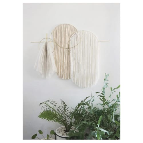 Macrame Wall Hanging by Attalie Dexter Home + Accessories seen at Private Residence, Los Angeles - Waveforms Oversized Wall Hanging