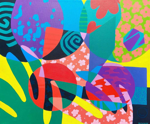 Paintings by Daisy St Sauveur seen at Studio in Boston, MA, Boston - your kind (colorful abstract painting)