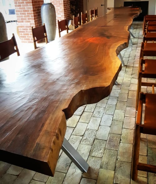 Tables by Handmade in Brighton seen at Wilderness, Saxmundham - Single Slab American Walnut Live-Edge Banqueting Table