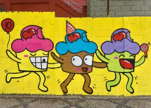 Street Murals by Bolinho seen at Nova Atmosphera, Santa Efigênia - Street Mural