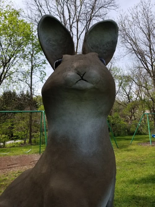 """Public Sculptures by J.A. Mayer """"Sculptor"""" seen at Coulter Playground, Greensburg - """"Bunny on the Loose"""""""