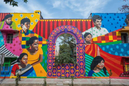 Street Murals by Aravani Art Project seen at Private Residence, New Delhi - Trans Lives Matter
