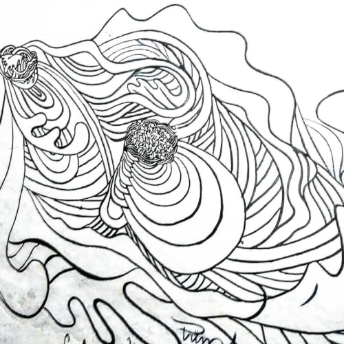 Murals by Paul Santoleri seen at Universidad Nacional Diego Quispe Tito, Cusco - Black and White Art