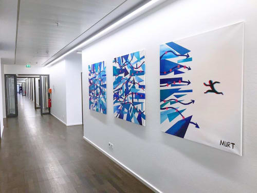 "Paintings by MURT seen at Celonis Office, München - ""Footprints"" painting"