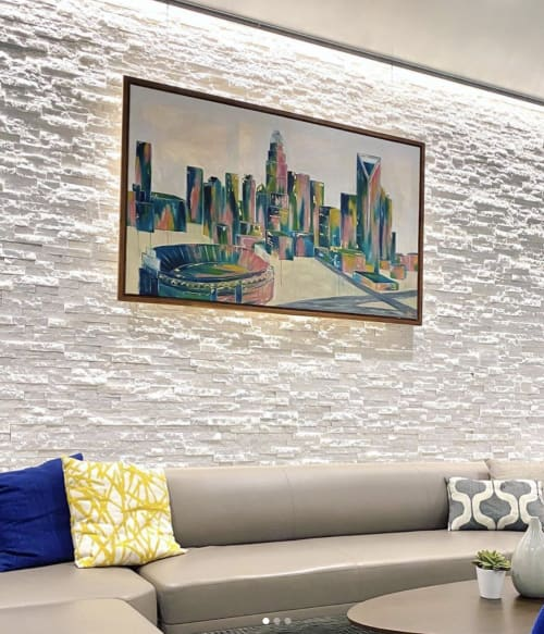 Paintings by Copeley Designs Art seen at Goldman Sachs, Charlotte - Charlotte Queen Skyline with Gold