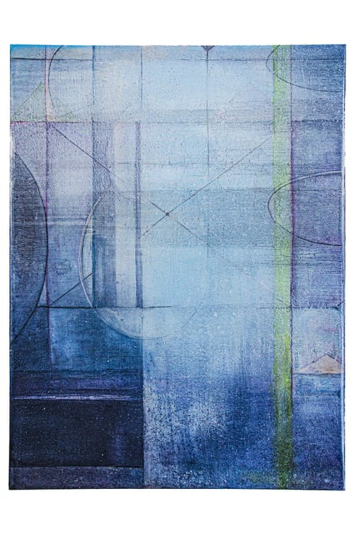 """Paintings by Virginia Bradley Art seen at Private Residence - Catena 6, oil, graphite, gold on birch panel, 48""""x36""""x2.5"""""""