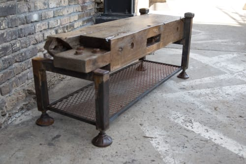 Benches & Ottomans by Wettrock Co. seen at Northeast Minneapolis, Minneapolis - Vintage Oak Timber Bench Cast Iron Leveling Feet