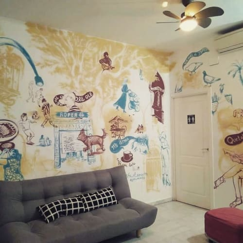 Murals by Julii McMillan seen at Oasis Backpackers Palace Sevilla, Sevilla - Sketches of Spain Mural