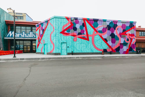 Street Murals by Isenberg Projects seen at Arsenal Yards, Watertown - Kismet - Kim Carlino