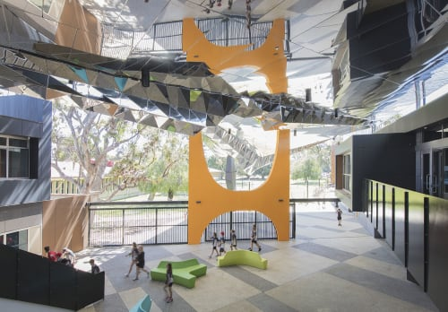 Public Sculptures by Forlano Design at Fremantle College, Beaconsfield - Kaliedoscopic Wave; Stainless Steel Soffit